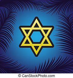 Shield Magen David Star. Symbol of Israel. Vector. Golden...