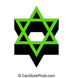 Shield Magen David Star. Symbol of Israel. Vector. Green 3d...