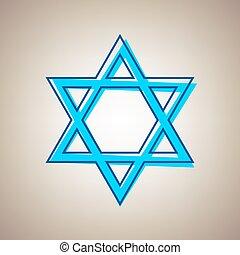 Shield Magen David Star. Symbol of Israel. Vector. Sky blue...