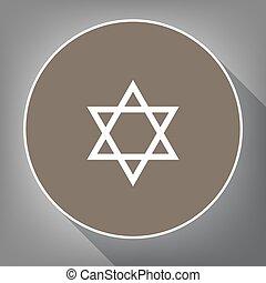 Shield Magen David Star. Symbol of Israel. Vector. White...