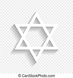 Shield Magen David Star. Symbol of Israel. Vector. White...