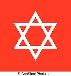 Shield Magen David Star. Symbol of Israel. White icon on red...