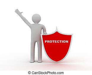 shield., man, begrepp, skydd, 3