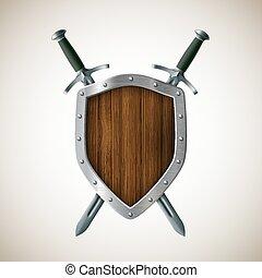 shield., mantel, ritterwappen, zwei, arms., schwert,...
