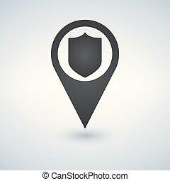 Shield Marker icon. Vector illustration.
