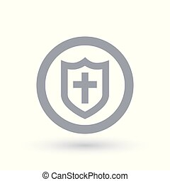 Shield of salvation icon. Armour of God symbol.
