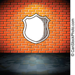 Shield on the brick wall