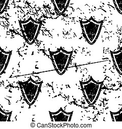 Shield pattern, grunge, monochrome
