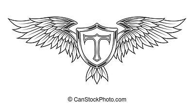 shield., plumas, alas