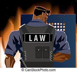 shield., police, brûler, émeute, officier, terrorisme