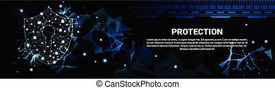 Shield Polygonal Over Dark Background Business Concept Of Data Security And Protection Horizontal Banner