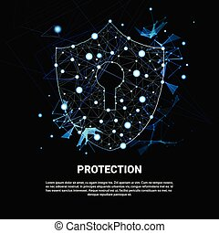 Shield Polygonal Over Dark Background Business Concept Of Data Security And Protection