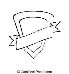 shield protected insignia ribbon sketch