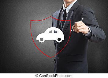 shield protecting auto car - Business man drawing shield...