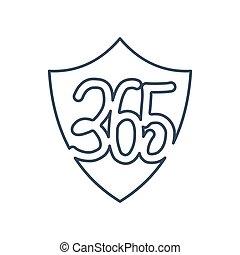 shield protection 365 infinity logo icon design illustration outline