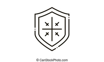 Shield Protection Icon Animation. black Shield Protection animated icon on white background