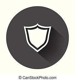 Shield protection icon. Vector illustration in flat style with long shadow.
