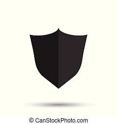 Shield protection icon. Vector illustration in flat style with shadow on white background.