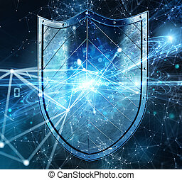 Shield protects personal information and internet network from web attack. Concept of internet security firewall and anti virus