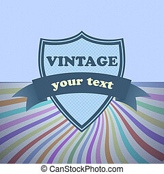 Shield retro vintage label on sunrays background