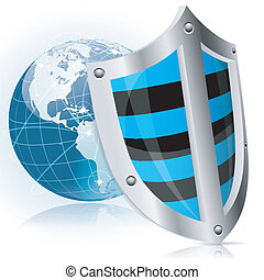 Shield Safety - Business concept - Shield protects Earth,...