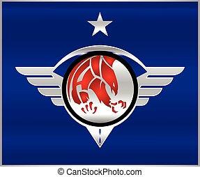 shield., sas, patrióta, eagle., szárnyas, fémből való, ...