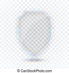 shield., scudo, protezione, concept., illustrazione, vetro, vettore, icon., distintivo, trasparente