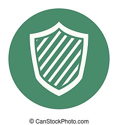 Shield security symbol green round icon vector illustration...