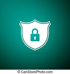 Shield security with lock icon isolated on green background. Flat design. Vector Illustration