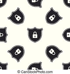 Shield security with lock icon seamless pattern on white background. Flat design. Vector Illustration