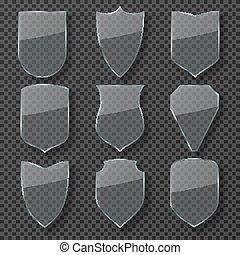 shield., set, protezione, shields., tutore, isolato, vetro, vettore, sicurezza, rifrazione, baluginante, trasparente, tesserati magnetici
