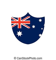 shield shape flag emblem nation australia icon on white background