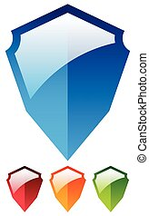Shield shape set - Glossy colorful shields. Protection, security icon.