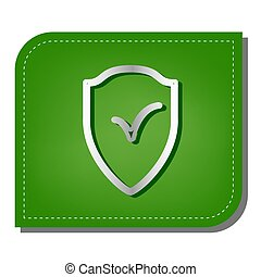Shield sign as protection and insurance symbol. Silver gradient line icon with dark green shadow at ecological patched green leaf. Illustration.