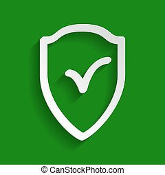 Shield sign as protection and insurance symbol. Vector. Paper whitish icon with soft shadow on green background.
