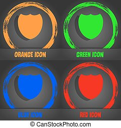 Shield sign icon. Protection symbol. Fashionable modern style. In the orange, green, blue, red design. Vector