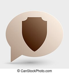 Shield sign illustration. Brown gradient icon on bubble with shadow.