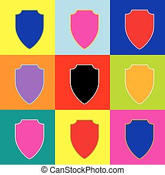 Shield sign illustration. Vector. Pop-art style colorful icons set with 3 colors.