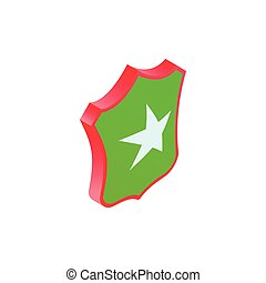 Shield star icon, isometric 3d style