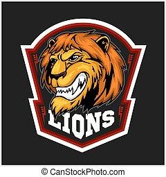 shield., sticker., 머리, 기장, 문자로 쓰는, -, 상징, 티셔츠, 사자, 사자, 팀,...