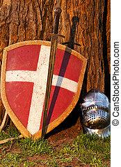 shield, sword and the helmet