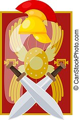 Shield, sword, helmet of an ancient Roman soldier. Legionary weapon on a white background. Vector illustration