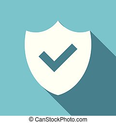 Shield symbol flat design vector blue icon