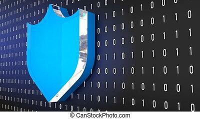 Shield symbol on random zeros, ones background, 3D...