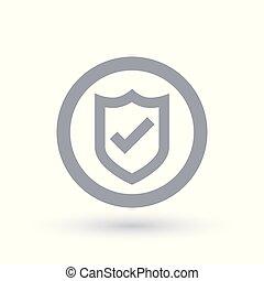 Shield tick icon. Secure badge checkmark symbol.