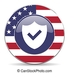 Shield usa design web american round internet icon with shadow on white background.
