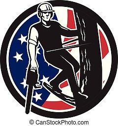 shield-usa-flag, drzewo, bok, chainsaw, arborist