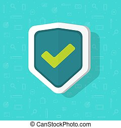 Shield vector icon flat cartoon isolated symbol with check mark, concept of protection or safety logo clipart