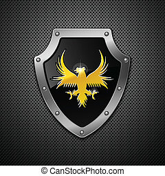 Shield. Vector.  - Shield on a metallic background.