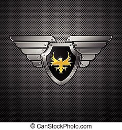 Shield. Vector. - Shield with eagle and wings. Vector...